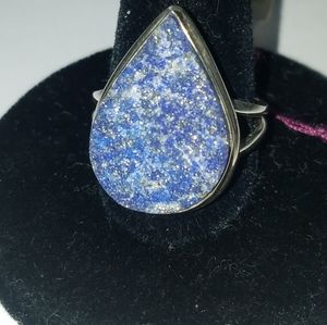 Sterling Silver lapis lazuli druzy ring